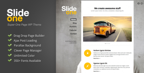 10_Slide One - One Page Parallax, Ajax WP Theme