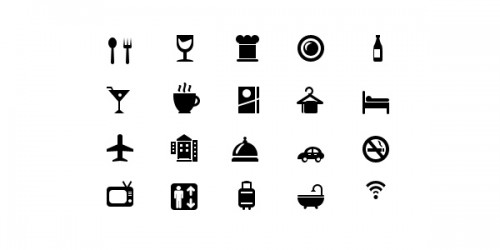 11_20 Hotel and Restaurant Glyph Icons (Vector PSD)