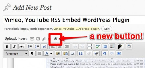 TentBlogger Vimeo, YouTube, RSS Embed