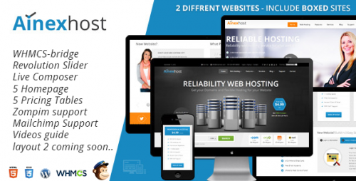 Ainex Host WHMCS WordPress Integration Theme