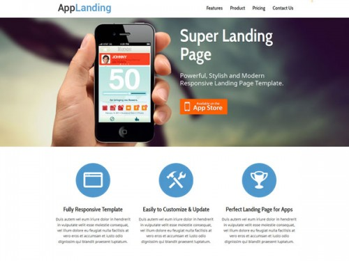 Retina Ready Responsive App Landing Page
