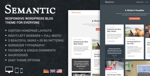 Semantic - Responsive & Clean WordPress Blog Theme